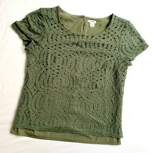 J.CREW FACTORY LACE CUT OUT LAYERED T-SHIRT BLOUSE